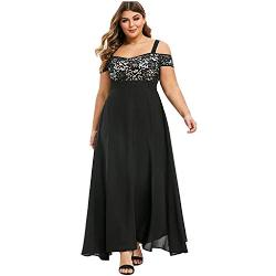 Robes noires à manches longues à manches longues à épaules dénudées plus size pour femme