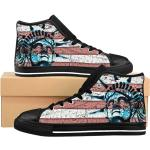 Us Liberty Lover Women's High-Top Sneakers, Custom Sneakers, Usa Sneakers, Woman Shoes, Sport Shoes, Gothic Shoes, Punk Liberty Statue