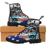 Usa Patriotic Women's Canvas Boots, Custom Patriot Boot, Woman Usa Flag, Custom Shoes Punk Pride Shoes, Liberty Statue Boots, New York Boots