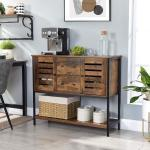 VASAGLE Buffet de cuisine - 2 tiroirs, 2 placards, étagère - 100 x 35 x 84.5 cm - Style industriel - Marron Rustique - LSC082B01