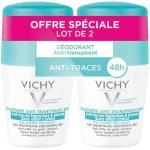Vichy Déodorant Anti-Transpirant Anti-Traces Blanches & Jaunes Efficacité 48h Bille Lot de 2 x 50ml