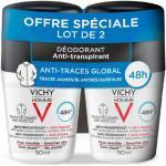 Vichy Homme Déodorant Anti-Transpirant Anti-Traces 48h Roll-On Lot de 2 x 50ml