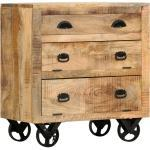 vidaXL Armoire latérale avec roues 70x40x75 cm Bois de manguier solide