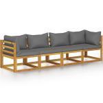 vidaXL Canapé de jardin à 4 places avec coussin Bois d'acacia massif
