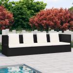 vidaXL Canapé de jardin avec coussin et oreillers Résine tressée Noir