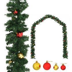 vidaXL Guirlande de Noël décorée avec boules 20 m
