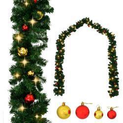 vidaXL Guirlande de Noël décorée avec boules et lumières LED 5 m