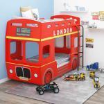 vidaXL Lit superposé Bus de Londres Rouge MDF 90x200 cm