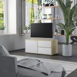 vidaXL Meuble TV Blanc et chêne sonoma 80x34x36 cm Aggloméré