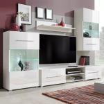 vidaXL Meuble TV mural avec éclairage LED 5 pièces Blanc