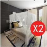 Vidaxl moustiquaire de lit carre 3 ouvertures 2 pcs