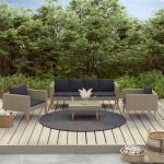 vidaXL Salon de jardin 4 pcs avec coussins Résine tressée Beige