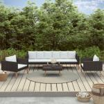 vidaXL Salon de jardin 4 pcs avec coussins Résine tressée Noir
