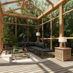 vidaXL Salon de jardin 6 pcs avec coussins Résine tressée Gris