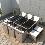 vidaXL Salon de jardin encastrable avec coussins 11 pcs Rotin Beige