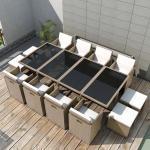 vidaXL Salon de jardin encastrable avec coussins 13 pcs Rotin Beige