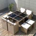 vidaXL Salon de jardin encastrable avec coussins 9 pcs Rotin Beige
