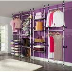 vidaXL Système de garde-robe télescopique barres et étagère Aluminium