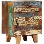 vidaXL Table de chevet sculptée à la main 40x30x50cm Bois récupération