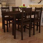 vidaXL Table de salle à manger avec 4 chaises Marron
