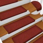 vidaXL Tapis d'escalier 15 pcs Tissu aiguilleté 65x25 cm Rouge