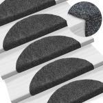 vidaXL Tapis d'escalier auto-adhésif 15 pcs 54 x 16 x 4 cm Gris foncé