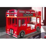 Vipack Lit Superposé Enfant Bus London 90 x 200 cm en Bois + LED - SCBBLB