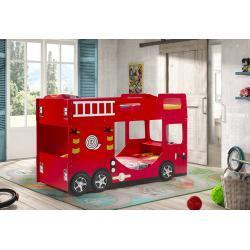 Vipack Lit Superposé Enfant Camion de Pompier 90 x 200 cm en Bois - SCFTBB19