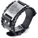 VNOX Bracelet Acier Inoxydable Vikings Nordiques Viking Tête de Loup Symbole Bracelet en Cuir Tressé Bracelet pour Homme Garçon,17.5-22.5cm