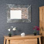 Wanda Collection - Miroir en bois patiné Petits pois cérusé blanc 70 X 100