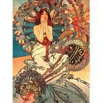 Wee Blue Coo Mucha Art Nouveau Woman Floral Unframed Art Print Poster Wall Decor 12x16 inch Femme Affiche Mur Déco
