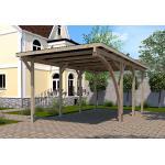 Weka Carport Simple en Bois de Pin Traité et PVC avec Arc 606 A T2 - 18 m² - 606.3060.40.10