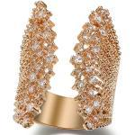 Women's 18k Rose Gold Plated Adjustable Open Shell Shape Cuff Ring Simmulated Diamond Cz For Women