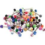 Women's 20 Pieces Tongue Ring Barbells Set 14g (1.6mm) Assorted Flexible Bar Or Surgical Steel Bar