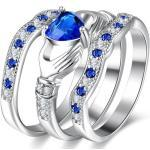 Women's 3 Pieces Irish Claddagh Celtic Knot Eternity Design Ring Simulated Sapphire Blue Heart Cz C