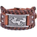 Women's Viking Fenrir Teen Wolf Smart Symbol Talisman Bangle Leather Bracelet