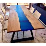 Wood Bar Project Table à Manger en Bois de Chêne et Résine Époxy Bleu Marine 180 cm - Table Chêne Bleu Marine