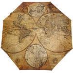 WowPrint Parapluie compact coupe-vent avec carte du monde vintage et portable