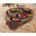 Wrap Bracelet Picasso En Cuir Et Perles De Rocaille, Manchette Large Beige Turquoise Picasso. Boho Leather