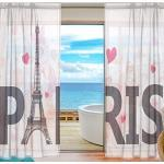 XiangHeFu Rideau transparent en tulle Motif Tour Eiffel Paris 139 x 213 cm
