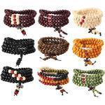 YADOCA 8-9 Pcs Mala Bracelet 108 Perles en Bois de Santal Naturel Collier/Bracelet Bouddhistes pour Homme Femme