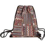 YMZ Sac à dos en tricot épais avec cordon de serrage tissé style bohème ethnique