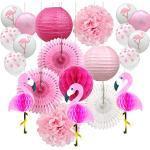 YZNlife Décoration de fête, motifs flamant rose pompons, fleurs en papier de soie, lanternes en papier avec 10 ballons de fête pour mariage, anniversaire, plage ou fête