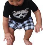 Zq Enfant En Bas Age Bebe Gar?On Renard T-Shirt Hauts Shorts A Carreaux Pantalons Tenues Ensemble De Vetements Noir